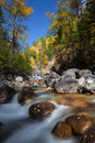 River among fall woods in mountain Royalty Free Stock Photo
