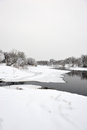 The river freezes. Royalty Free Stock Photo