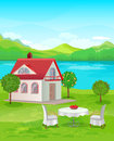River house with mountain views table and chairs on the lawn at home Royalty Free Stock Photography