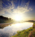 River landscape with sunrise Royalty Free Stock Photo