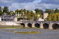 River loire at tours in france and bridge of wilson city central the capital of the indre et department centre region Royalty Free Stock Image