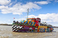 River mersey dazzle ferry in liverpool uk may the first world war centenary art commissions and tate have commissioned one of the Stock Photo