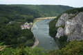River meuse and valley with the freyr castle near dinant belgium Royalty Free Stock Photo