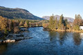 River with mountains in the back Royalty Free Stock Photo