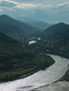 River in the mountains beautiful scenery of mountain georgia Stock Photo