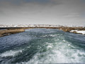 River myvatn in iceland ice covered mountains north west along route Stock Photography
