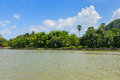 River nature with mountain kanchaburi thailand Stock Image