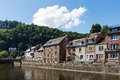 River Ourthe in historic centre La Roche-en-Ardenne in Belgian A Royalty Free Stock Photo