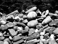 River pebbles in black and white Royalty Free Stock Photo