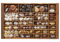River pebbles in typesetter drawer Royalty Free Stock Images