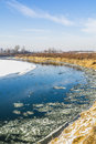River during periods of frost and flowing it frazil ice Stock Image