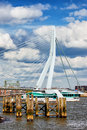 River pier and bridge in rotterdam old wooden on a erasmus dutch erasmusbrug south holland the netherlands Stock Photography