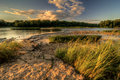 River rapids sunset a beautiful warm summer at weir s on the maumee in northwest ohio Royalty Free Stock Photography