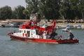 River rescue ship and firefighting on sava during belgrade regatta avgust Royalty Free Stock Photo