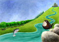 River with salmon and dipper digital toon illustration of a Royalty Free Stock Image