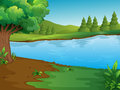 River scene with trees and hills Royalty Free Stock Photo