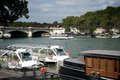 River seine at paris france with boats on both sides Stock Photography
