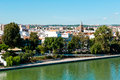 River and seville view of canal de alfonso xiii Stock Photos