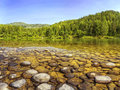 River shore under clear blue sky Royalty Free Stock Photo