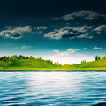 River side abstract summer landscape for your design Royalty Free Stock Image