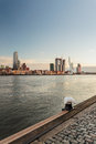 River skyline dutch harbor city rotterdam part pier front Royalty Free Stock Image