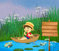 A river and a smiling boy in a boat illustration of Royalty Free Stock Photography