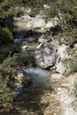 The river soca in slovenia filled with rocks Stock Photos