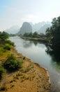 River Song in Vang Vieng, Laos. Royalty Free Stock Photo