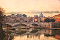 River tiber in rome view of the bridge of ponte vittorio emanuele ii and saint peters basilica over the italy Royalty Free Stock Image