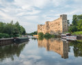 River trent and newark castle at sunset taken with reflections in the Royalty Free Stock Photo