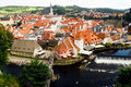 River Vlatava by old Town Cesky Krumlov Royalty Free Stock Image