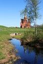 River volga origin old russian abbey near Stock Image