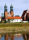 River Warta and Archicathedral Basilica in Poznan Royalty Free Stock Image