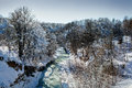 River in winter forest sunny Royalty Free Stock Image