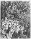 Riverbank under the trees picture from gustave dore s london a pilgrimage illustrated book published in london uk Royalty Free Stock Photography