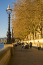 Riverbank walk thames embankment in london at sunset Royalty Free Stock Images