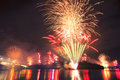 Riverfire festival in brisbane fireworks at city queensland australia Stock Photos