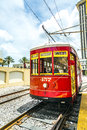 Riverfront streetcar in New Orleans Royalty Free Stock Photo