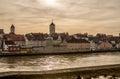 Riverside of the Danube river in Regensburg, Germany v1 Royalty Free Stock Photo