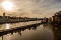 Riverside of the Danube river in Regensburg, Germany v3 Royalty Free Stock Photo