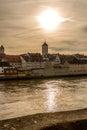 Riverside of the Danube river in Regensburg, Germany v4 Royalty Free Stock Photo
