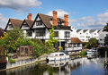 Riverside Houses and Moorings Royalty Free Stock Photo