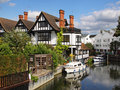 Riverside Houses and Moorings Stock Photos