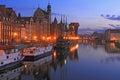 The riverside of Motlawa River in Gdansk, Poland Royalty Free Stock Photo