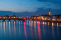 Riverside by night in Maastricht, The Netherlands Royalty Free Stock Photo