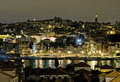 Riverside by night in porto portugal Royalty Free Stock Photo