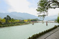 Riverside pavement with stone balustrade in sunny winter afterno afternoon dujiangyan china Royalty Free Stock Image