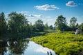 Riverside peaceful background of summer village Stock Photo