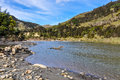 Riverside view in Whanganui National Park, New Zealand Royalty Free Stock Photo
