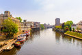 Riverside of york city uk with blue sky Stock Photos